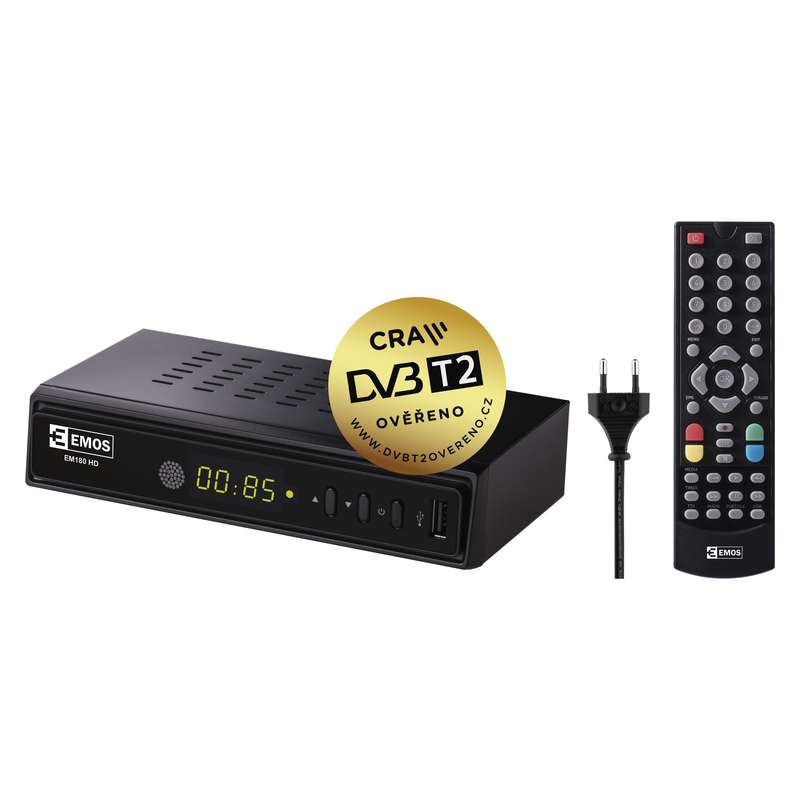 Set top box EMOS EM180 HEVC H265 (DVB-T2 prijímač)